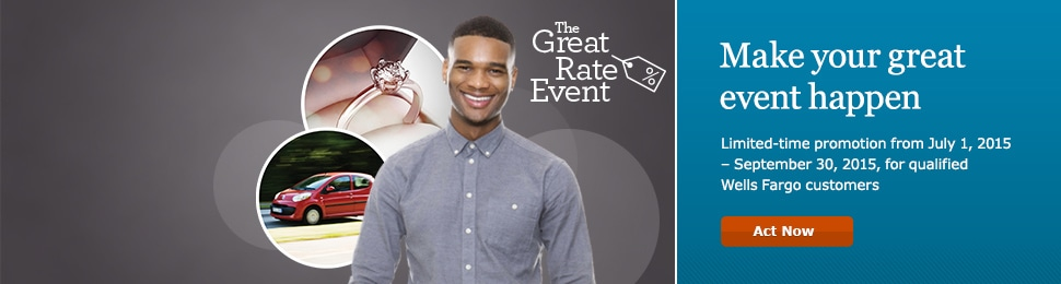 The Great Rate Event. Make your great event happen. Limited-time promotion from July 1, 2015 � September 30, 2015, for qualified Wells Fargo customers. Act Now.